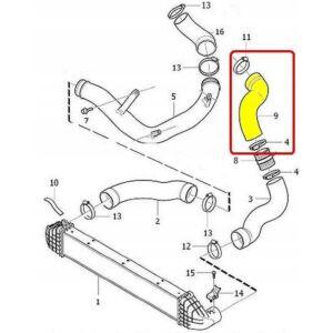 VOLVO ALKATRÉSZ : 30792885,31370208 - Turbócső Intercooler-motor között (Dízel)